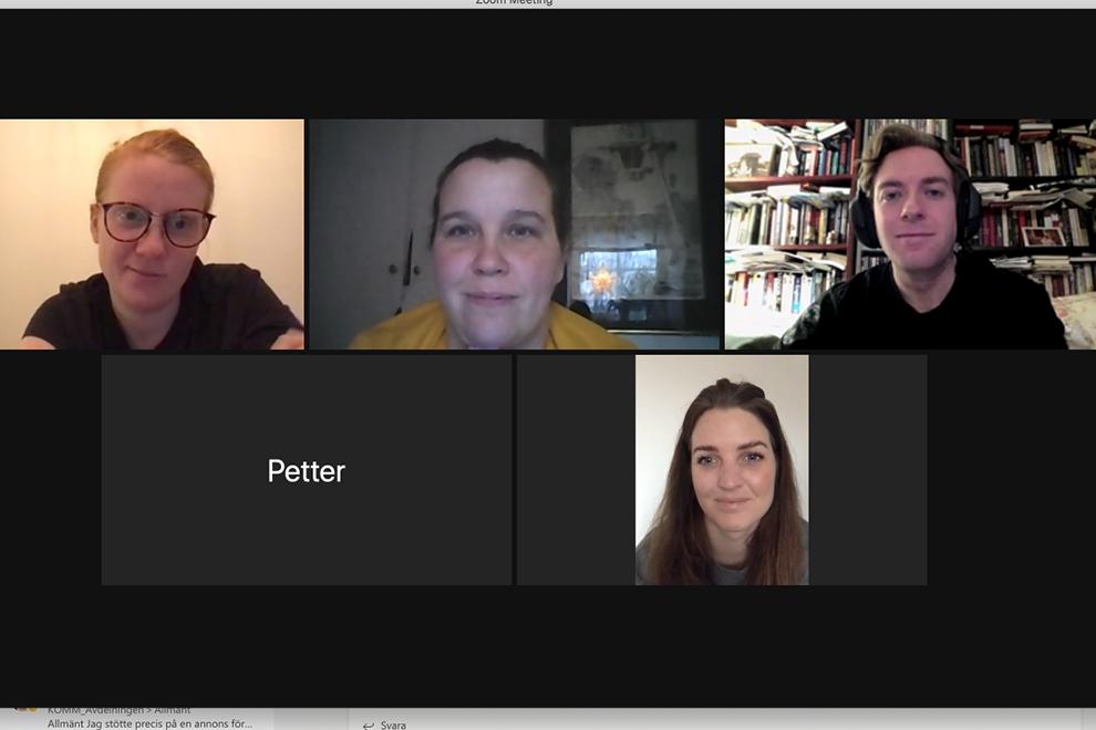 Skärmavbild från videosamtal med flera studenter.