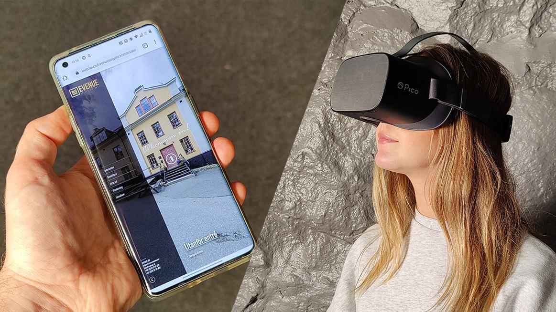 Collage med hand som håller en mobiltelefon som visar entré till byggnad och en tjej med VR headset.