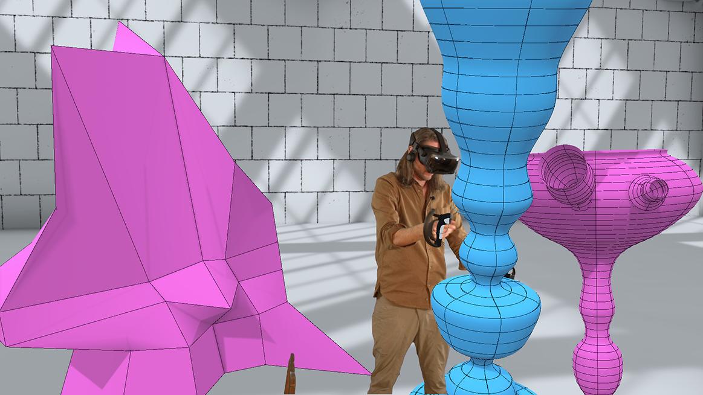 En person med VR-glasögon inne i ett virtuellt rum.