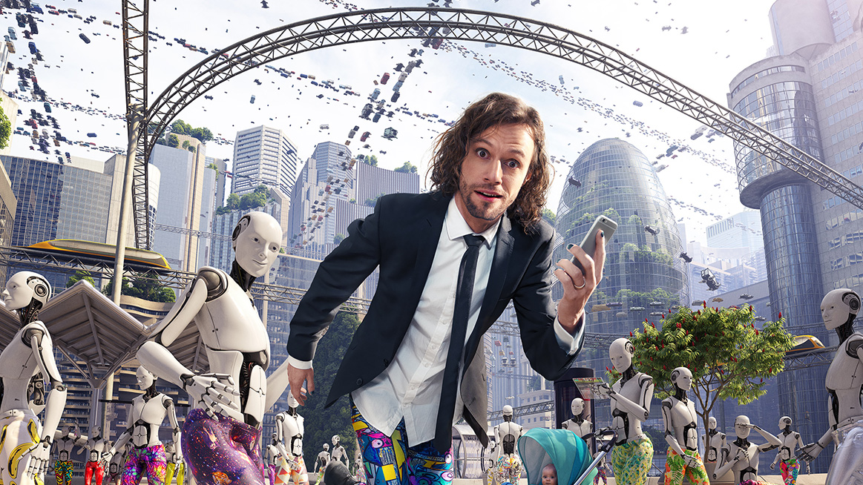 Gustaf Josefsson Tadaa i ett stadslandskap omgiven av robotar.