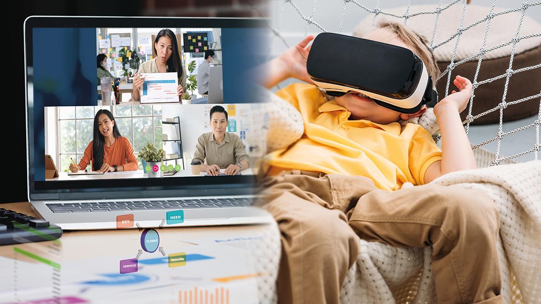 Kollage med flera personer på en datorskärm och ett barn som ligger och tittar i ett VR-headset.